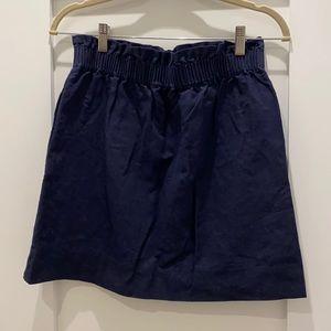 J. Crew Linen Navy Skirt Elastic Waist - size 6